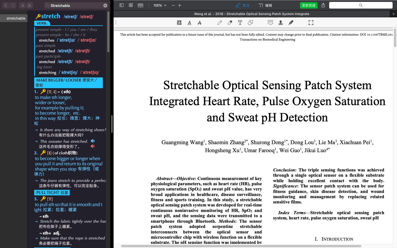 Mac词典与PDF Expert并列全屏显示